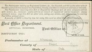 US REGISTRY BILL ALTAMONT, DAKOTA TERRITORY 6/22/89 TO MOODIES, CT 6/28 RARE