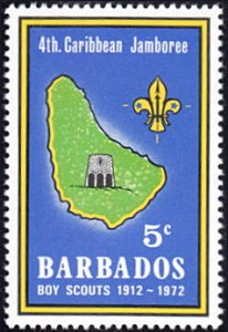 Barbados # 372 mnh ~ 5¢ Scouting - Combermere School on Map