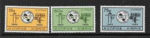 CYPRUS SG262/4 1964 ITU CENTENARY MNH