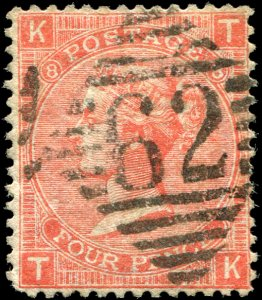 Great Britain - Scott #43a - 1865 QV 4d Dull Vermilion Plate 8 - Used