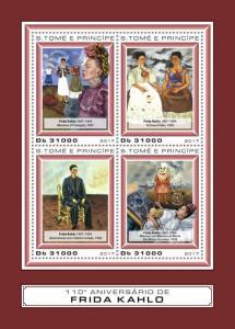 Sao Tome & Principe Art Stamps 2017 MNH Frida Kahlo Paintings 4v M/S