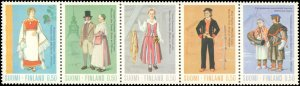 1972 Finland #518-522, Complete Set(5), Strip is Folded, Never Hinged