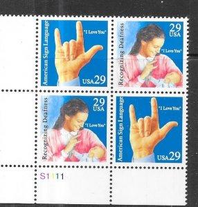 US# 2784a  $0.29  Deaf Communication P/B  (MNH) CV $2.50