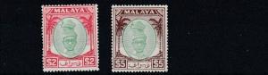 PERAK  1949 - 50 S G 147 - 148  $2 & $5   VALUES    MH  CAT £70