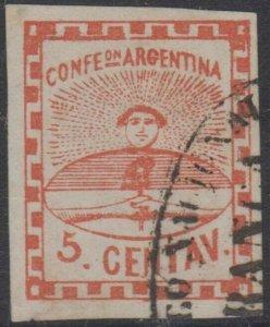 ARGENTINA 1858 CONFEDERATION Sc 1 CORREO NACIONAL FRANCA DEL ROSARIO CANCEL