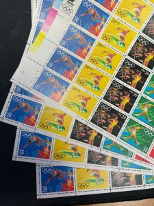 US Scott 2553-57 29c  1992 Olympics 4 Matched Pl. Nos. A11111 NH Sheets of 40