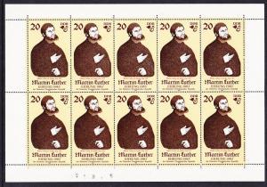 DDR 1982 Martin Luther Sheet Scott (2309a) MNH