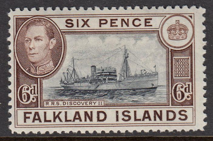 Falkland Islands KGVI 1938 6d Slate-Black Deep Brown SG155 Mint Hinged