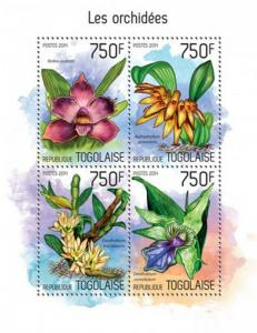 Togo 2014 Exotic Orchids on Stamps  4 Stamp Sheet 20H-969