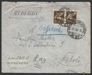 ITALY FORCES IN LYBIA 1942 airmail cover POSTA MILITARE N.27  to Naples....10374