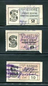 x219 - LATVIA 1930s Lot of (3) Singer Sewing Machines REVENUE Stamps