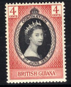 British Guiana 1953 QE2 4ct Coronation Umm SG 330 ( R1165 )