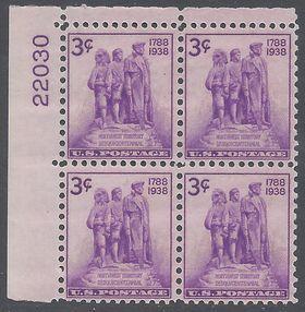 Scott  837 3c Northwest Territory Sesquicentennial PB/4 1938 Mint LH
