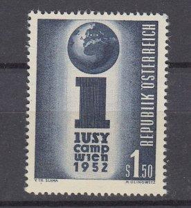 J29521, 1951 austria set of 1 mh #581 youth camp