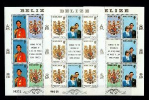 BELIZE - 1981 - ROYAL WEDDING - LADY DIANA - PRINCE CHARLES - 3 X MNH SHEET SET!