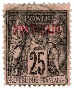 (I.B) France Colonial Postal : Port Said 25c