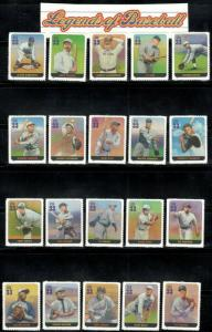 3408 (a-t) Legends Of Baseball Complete Set Of 20 W/ Header Mint/nh Ships Free