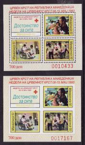 Macedonia-Sc#RA32-5-two unused NH sheets,perf and imperf-