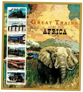 Sierra Leone MNH S/S Great Trains Of Africa 6 Stamps Extra Large Size