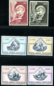 VATICAN Sc#C53-C58 1968-71 Fra Angelico Airmails Two Complete Sets OG Mint NH