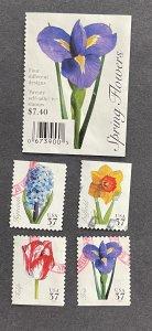 US 2005 Spring Flowers 3900-3 4 designs USED