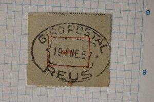 Spain 1957 Giro Postal REUS dated city postmark cancel PO form card postcard
