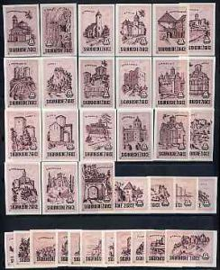 Match Box Labels - complete set of 36 Castles (pink) supe...