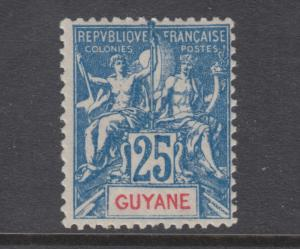 French Guiana Sc 43 MLH. 1900 25c blue Navigation & Commerce, sound