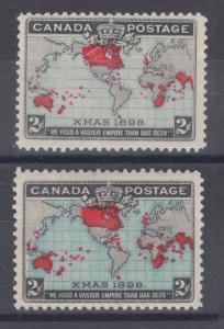 Canada Sc 86,86b, MLH. 1898 2c Map, blue & deep blue oceans, fresh.