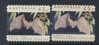 Australia SG 1332  Used pair different phosphors  perf 11½ Threatened Specie...