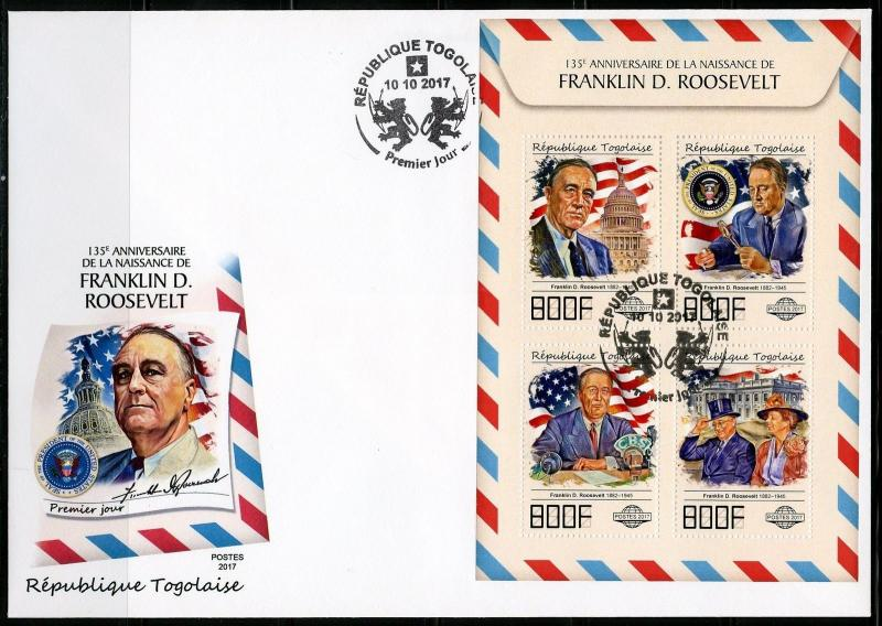 TOGO 2017 135th BIRTH OF FRANKLIN D ROOSEVELT SHEET FIRST DAY COVER