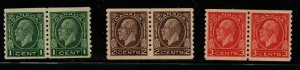 Canada Sc 205-7 1933   George V Medallion issue coil stamp set pairs mint NH