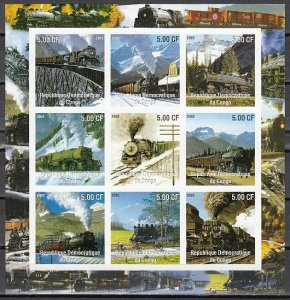 Congo Dem. Rep., 2002 issue. Trains on an IMPERF sheet of 9. ^