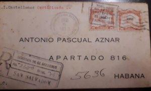 O) 1932 EL SALVADOR, MAP OF CENTRAL AMERICA - OVERPRINTE, CERTIFICATE, TO CARIBE