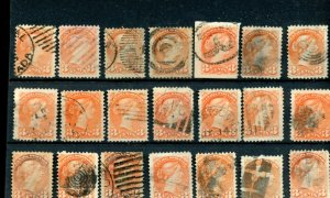 21x 3 cent Small Queen various cancels lot CAnada