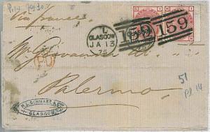 GB -  POSTAL HISTORY - COVER : SG 160 PAIR - GLASGOW to PALERMO 1875