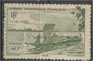 FRENCH WEST AFRICA, 1947 mint, 40c Canoe. Scott 38