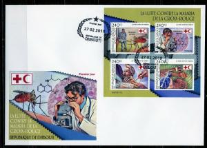DJIBOUTI  2019 RED CROSS BATTLE AGAINST MALARIA  SHEET FIRST DAY COVER