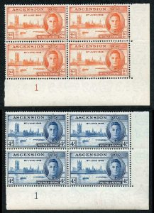 Ascension SG48/9 1946 Victory Plate Blocks of Four U/M