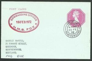 GB SCOTLAND 1972 2½d postcard HMS FOX  navy ship cachet - Greenock cds.....47971