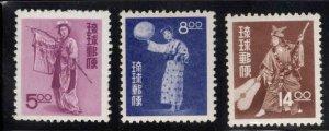 RYUKYU (Okinawa) Scott 36-38 MH* 1956  stamp  set