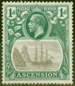 Ascension 1933 1d Grey-Black & Brt Blue Green SG11da Broken Mainmast V.F MNH Sca