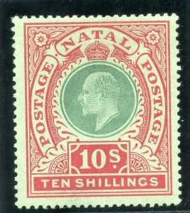 Natal 1908 KEVII 10s green & red/green MLH. SG 170. Sc 115.