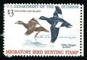 RW36 White Winged Scoters 1969 Duck Stamp Disturbed Gum