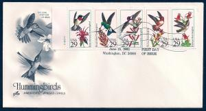 UNITED STATES FDC 29¢ Hummingbirds PANE 1992 ArtCraft