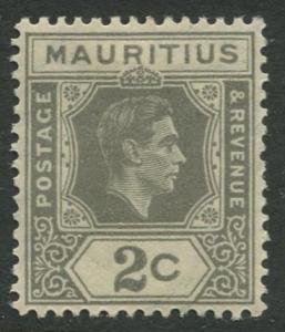 Mauritius - Scott 211 - KGVI Definitive Issue -1938 - MLH -Single 2c Stamp