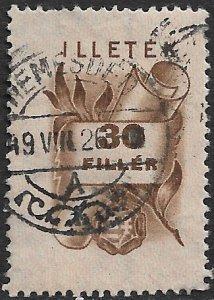 HUNGARY 1946 30f SCROLL Nationalist Arms Illetek Revenue BFT.5 VFU