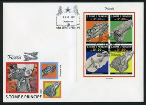 SAO TOME 2021 FOSSILS SHEET FIRST DAY COVER