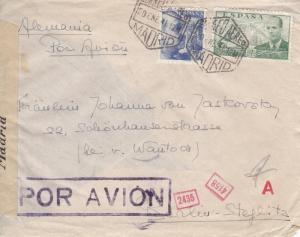 1941, Madrid, Spain to Germany, Airmail, Censored, See Remark (C2206)