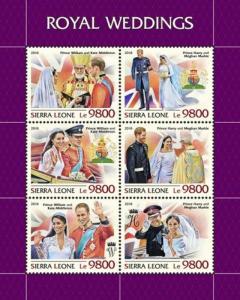 Sierra Leone - 2018 Royal Weddings - 6 Stamp Sheet - SRL18807a